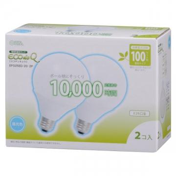 電球形蛍光灯 ボール形 E26 100形相当 昼光色 エコデンキュウ 2個入 [品番]04-1372