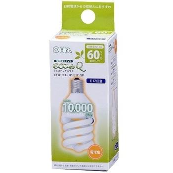 電球形蛍光灯 スパイラル形 E17 60形相当 電球色 エコデンキュウ [品番]04-1383