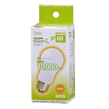 電球形蛍光灯 E26 60形相当 電球色 エコデンキュウ [品番]04-1446