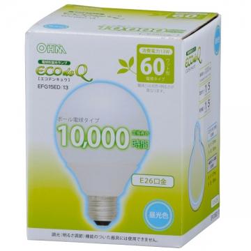 電球形蛍光灯 エコデンキュウ G形 E26 60形相当 昼光色 [品番]04-3091