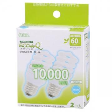 電球形蛍光灯 スパイラル形 E26 60形相当 昼光色 エコデンキュウ 2個入 [品番]04-3267