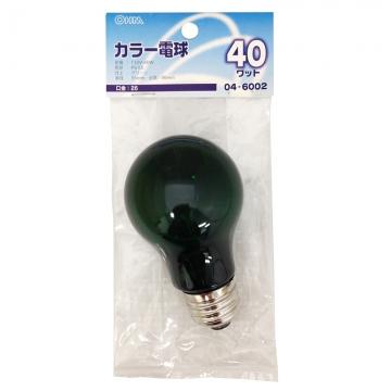 白熱カラー電球 E26 40W グリーン [品番]04-6002