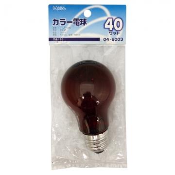 白熱カラー電球 E26 40W レッド [品番]04-6003