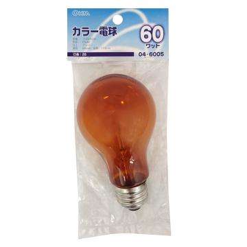白熱カラー電球 E26 60W アンバー [品番]04-6005