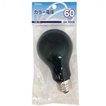 白熱カラー電球 E26 60W グリーン [品番]04-6006