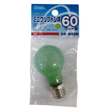 ミニクリプトン球 60形相当 PS-35 バルーン E17 グリーン [品番]04-6498