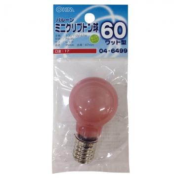 ミニクリプトン球 60形相当 PS-35 バルーン E17 レッド [品番]04-6499