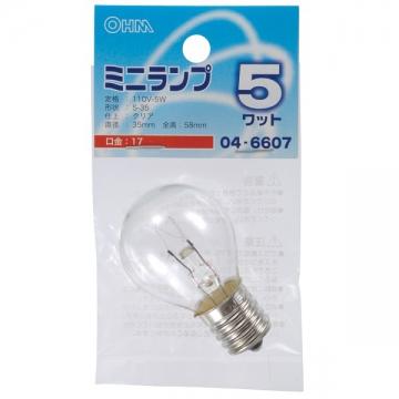 ミニランプ S35型 E17/5W クリア [品番]04-6607
