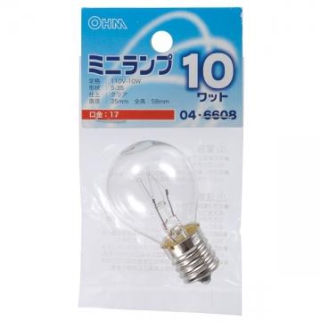 ミニランプ S35型 E17/10W クリア [品番]04-6608