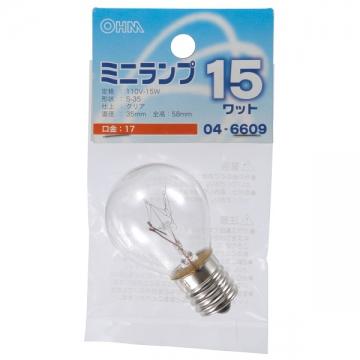 ミニランプ S35型 E17/15W クリア [品番]04-6609