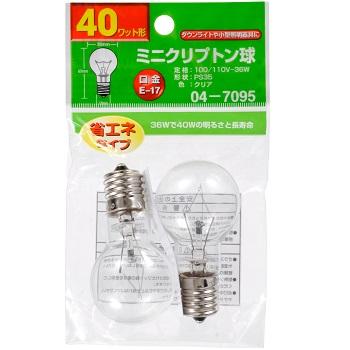 ミニクリプトン球 40形相当 PS-35 E17 クリア 2個入 [品番]04-7095