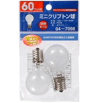 ミニクリプトン球 60形相当 PS-35 E17 ホワイト 2個入 [品番]04-7098