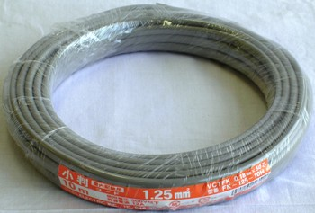 小判コード 2.0mm2 灰 5m [品番]04-7476