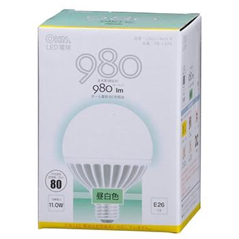 LED電球 ボール形 60形相当 E26 昼白色 [品番]06-1326