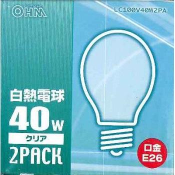 白熱電球 E26 40W クリア 2個入 [品番]06-2580