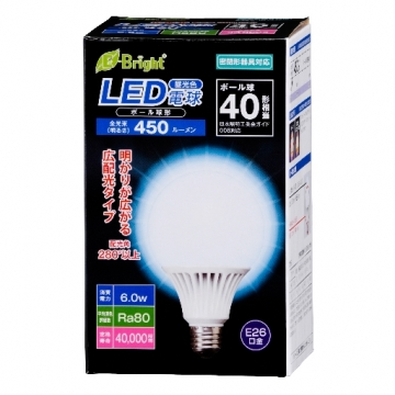 LED電球 ボール形 40形相当 E26 昼光色 [品番]06-2934