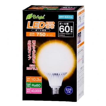 LED電球 ボール形 60形相当 E26 電球色 [品番]06-2935