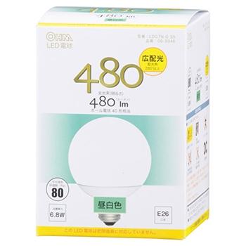 LED電球 ボール形 40形相当 E26 昼白色 [品番]06-3046