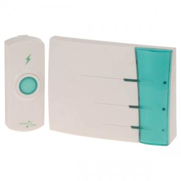 ワイヤレスチャイム 電池式受信機+押しボタン送信機 [品番]07-6362
