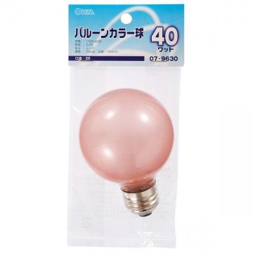 バルーンカラー球 E26 40W レッド [品番]07-9630