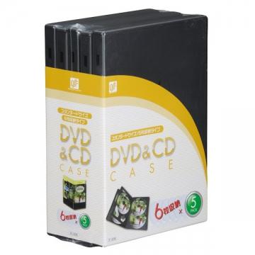 DVD&CDケース 6枚収納 5パック [品番]01-3236