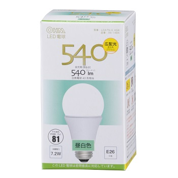 LED電球 E26 昼白色 [品番]06-1484