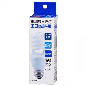 電球形蛍光灯 スパイラル形 E26 60形相当 昼光色 エコなボール [品番]04-8194