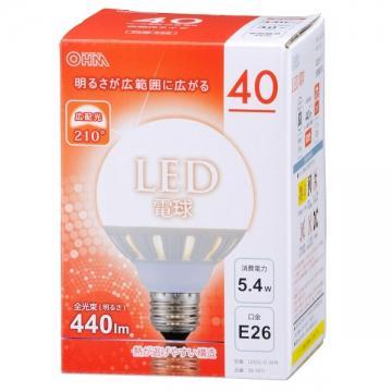 LED電球 ボール形 40W相当 E26電球色 [品番]06-1611