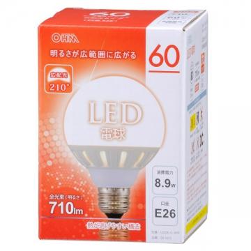 LED電球 ボール形 60W相当 E26 電球色 [品番]06-1613