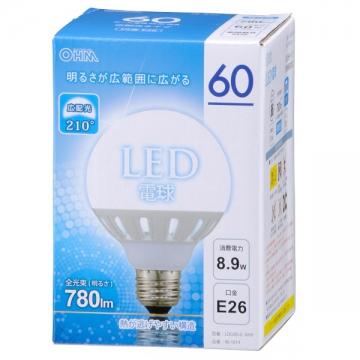 LED電球 ボール形 60W相当 E26 昼光色 [品番]06-1614