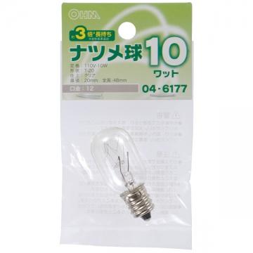 ナツメ球 E12/10W クリア [品番]04-6177