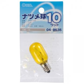ナツメ球 E12/10W イエロー [品番]04-9635