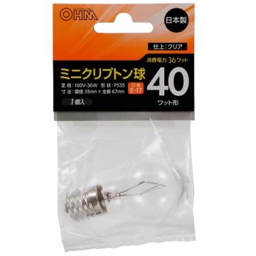 ミニクリプトン球 40形相当 PS-35 E17 クリア [品番]06-2963