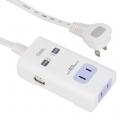 USB 2ポート付き 2口タップ 0.5m [品番]00-1197