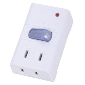雷ガード&集中スイッチ付き 節電タップ 2個口 [品番]00-1200
