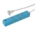 USB充電ポート付き 押しボタン節電タップ 3個口 1.5m ブルー [品番]00-1427