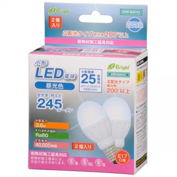 LED電球 小形 25W相当 E17 昼光色 2個入 [品番]06-2944