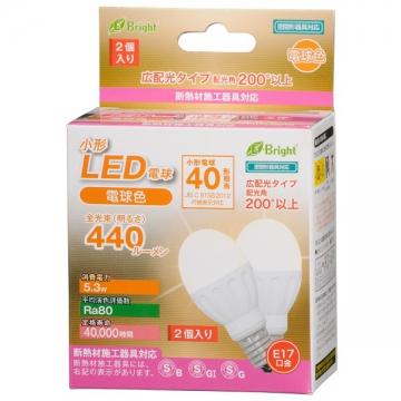 LED電球 小形 40W形相当 E17 電球色 2個入 [品番]06-2945