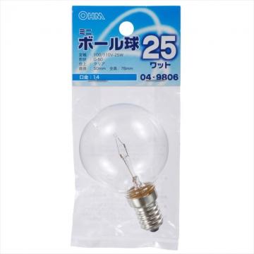 ミニボール球 G50型 E14/25W クリア [品番]04-9806