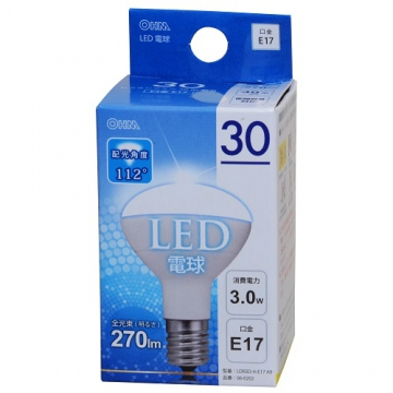 LED電球 ミニレフランプ形 30W相当 E17 昼光色 [品番]06-0202