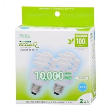 電球形蛍光灯 スパイラル形 E26 100形相当 昼光色 エコデンキュウ 2個入 [品番]04-3193
