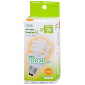 電球形蛍光灯 スパイラル形 E26 100形相当 電球色 エコデンキュウ [品番]04-4022