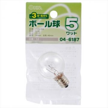 ボール球 G30 E12/5W クリア [品番]04-6187