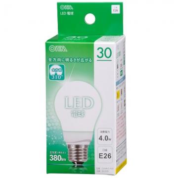 LED電球 30W形相当 E26 昼白色 全方向 密閉器具対応 [品番]06-0208