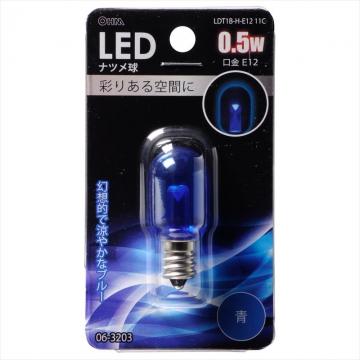 LEDナツメ球装飾用 T20/E12/0.5W/クリア青色 [品番]06-3203