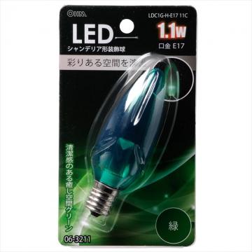LEDシャンデリア形装飾用/C32/E17/1.1W/クリア緑色 [品番]06-3211