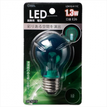 LED電球装飾用 PS/E26/1.3W/クリア緑色 [品番]06-3215