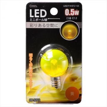 LEDミニボール球装飾用 G30/E12/0.5W/クリア黄色 [品番]06-3222