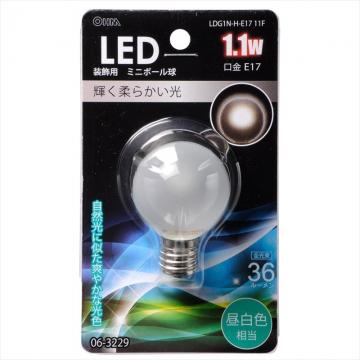 LEDミニボール球装飾用 G40/E17/1.1W/36lm/フロスト昼白色 [品番]06-3229