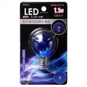 LED電球 装飾用 ミニボール E17 ブルー [品番]06-3240